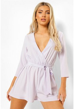 Lilac purple Wrap Front Belted Playsuit