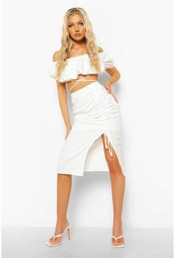 White Rouche Detail Side Split Midi Skirt