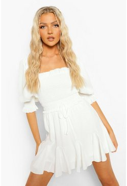 White Godet Detail Skater Skirt
