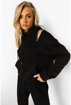 Black Zip Up Shoulder Detail Hoodie