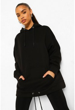 Black Double Drawstring Oversized Hoodie