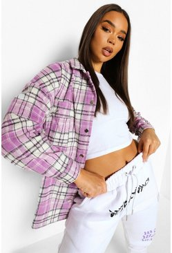 Lilac purple Pastel Check Shacket