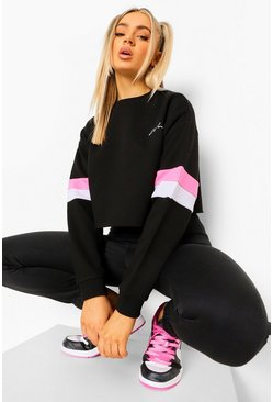 Black Woman Cropped Colour Block Sweatshirt