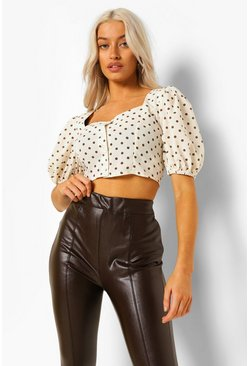 Ivory white White Woven Polka Dot Button Through Top