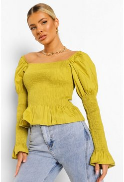 Chartreuse yellow Woven Shirred Square Neck Top