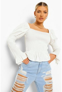 Ivory white Woven Shirred Square Neck Top