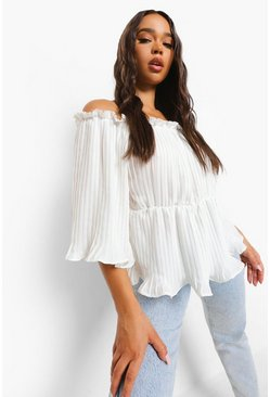 Ivory white Woven Pleated Off The Shoulder Peplum Top