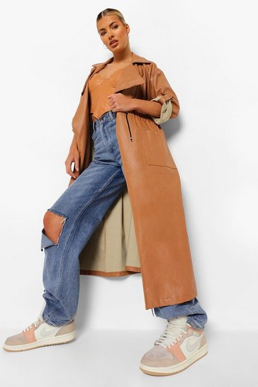 Camel beige Oversized Faux Leather Parka