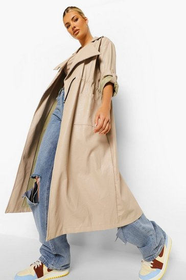 Stone beige Oversized Faux Leather Parka