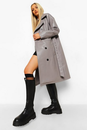 Grey Faux Leather Trench Coat