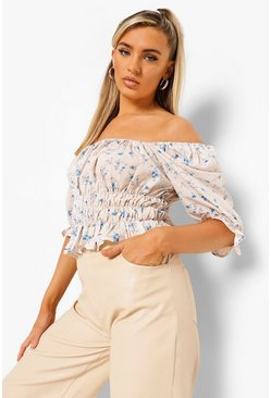 Blue Woven Floral Ruched Top