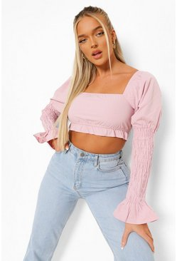 Purple Shirred Sleeve Square Neck Crop Top, Лиловый Фиолетовый