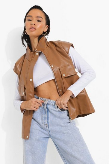 Tan brown Faux Leather Oversized Gilet