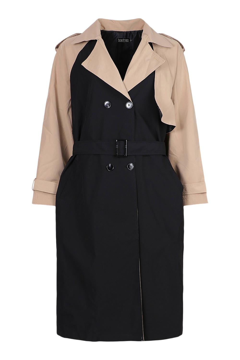 Vintage Coats & Jackets | Retro Coats and Jackets Womens Contrast Colour Belted Trench Coat - Black - 12 $28.00 AT vintagedancer.com