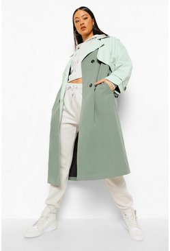 Sage green Contrast Colour Belted Trench Coat