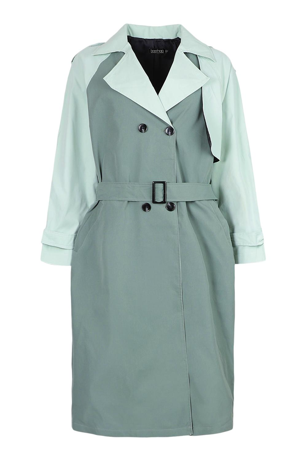 Vintage Coats & Jackets | Retro Coats and Jackets Womens Contrast Colour Belted Trench Coat - Green - 12 $28.00 AT vintagedancer.com