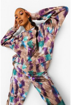 Oversized-Sweatshirt in Batik-Optik, Violett
