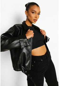 Black Wide Sleeve Faux Leather Biker Jacket