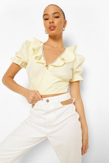 Yellow Woven Ruffle Detail Crop Top