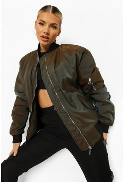 Khaki Two Tone Oversized Bomber Jacket