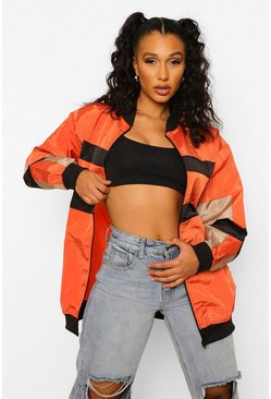 Orange Colourblock Panelled Bomber Jacket