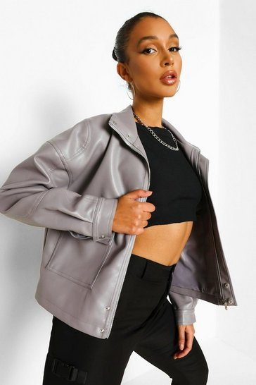Grey Oversized Faux Leather Bomber Jacket
