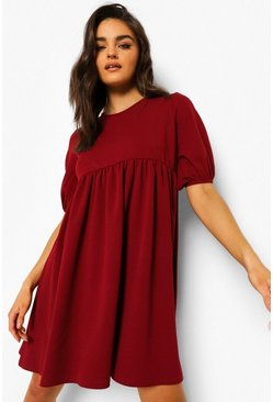 Berry red Puff Sleeve Smock Dress