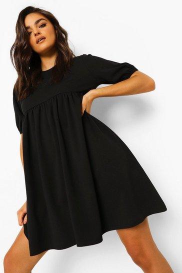 Black Puff Sleeve Smock Dress