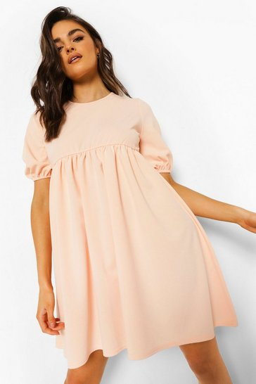 Blush pink Puff Sleeve Smock Dress