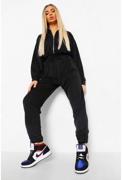 Black Funnel Neck Zip Sweat Jumpsuit