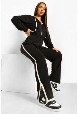 Ecru Contrast Stripe Hooded Sweat Jumpsuit