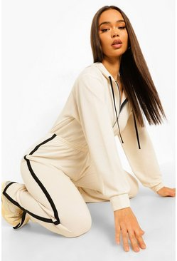 Ecru white Contrast Stripe Hooded Sweat Jumpsuit
