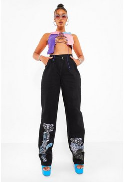 Washed black Graffiti Print Boyfriend Jeans