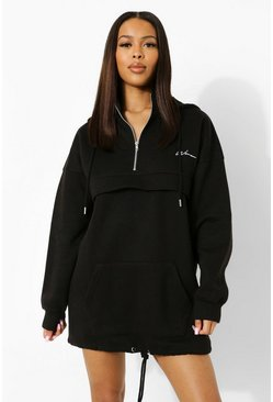 Black Woman Embroidered Hoodie Sweat Dress