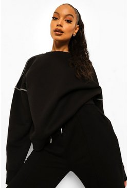 Seam Detail Oversized Sweatshirt, Black noir
