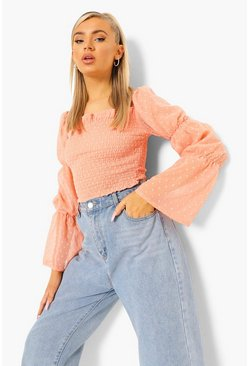Peach orange Dobby Shirred Square Neck Crop Top