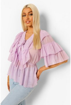 Lilac purple Woven Ruffle Lace Up Blouse