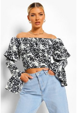 Black Woven Floral Puff Sleeve Top