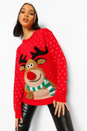 Red Reindeer Pom Pom Christmas Jumper