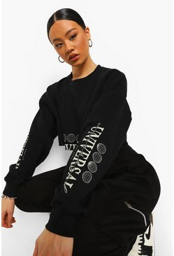 Black Universal Sleeve Print Cropped Sweatshirt