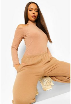 Stone beige Soft Rib High Neck Cold Shoulder Bodysuit
