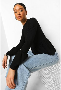 Black Flared Sleeve Rib Smock Top