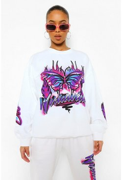 White Oversized Graffiti Sweatshirt