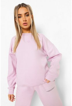 Lilac purple Cupid Embroidered Oversized Sweatshirt