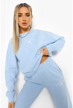 Pale blue blue Venice Embroidered Oversized Sweatshirt