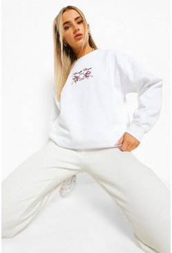 White Oversized Geborduurde Amalfi Sweater
