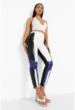 Black Moto Biker Contrast Leather Look Pu Trousers