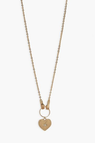 Gold metallic Holding Heart Necklace