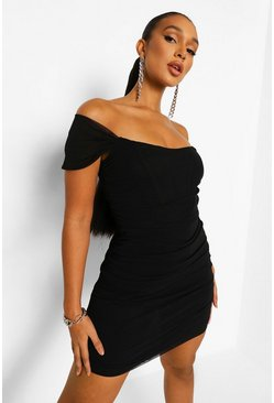 Black Mesh Off The Shoulder Corset Mini Dress