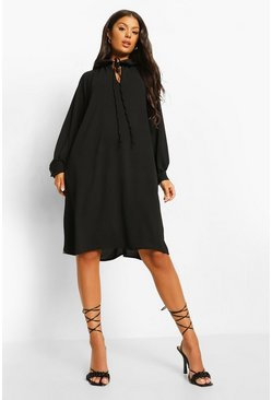 Black Woven Collar Detail Shift Dress